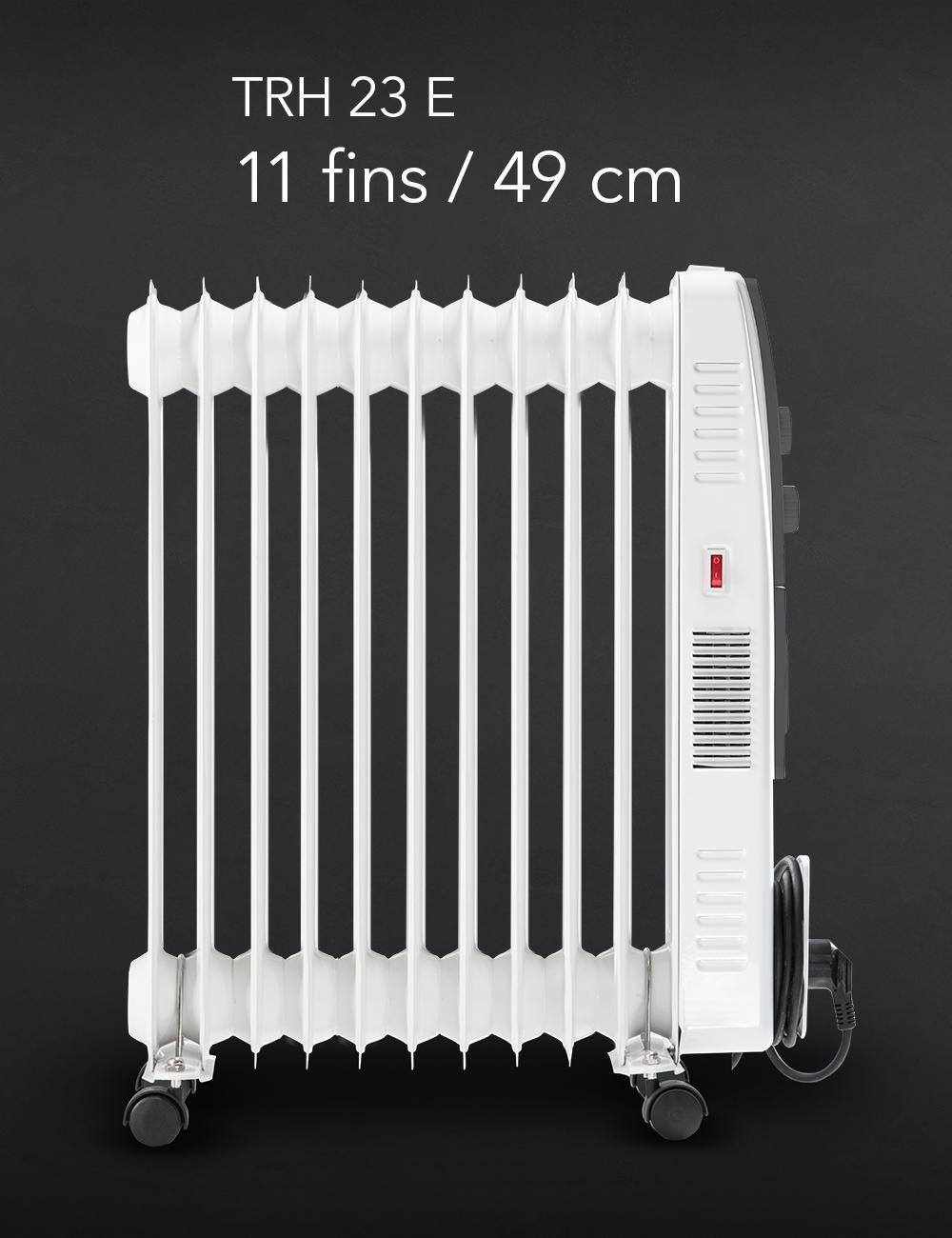 TROTEC TRH 25 E Radiatore a olio 3 livelli di riscaldamento 2.500 W di potenza calorifica Radiatore a 11 costole 8 min di tempo di riscaldamento Timer Telecomando IR
