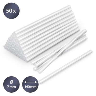 Confezione di stick di colla a caldo trasparente, 50 pezzi (Ø 7 mm)