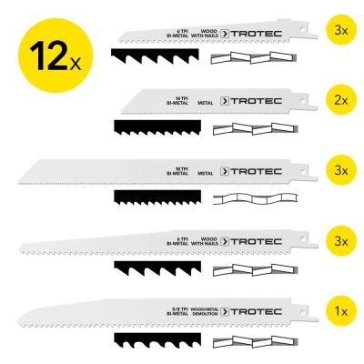 Set di 12 lame per sega a gattuccio per taglio di legno/metallo