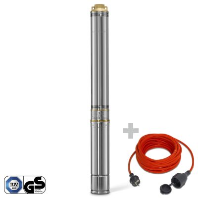 Pompa sommersa per pozzi TDP 7500 E + prolunga di qualità da 15 m / 230 V / 1,5 mm²
