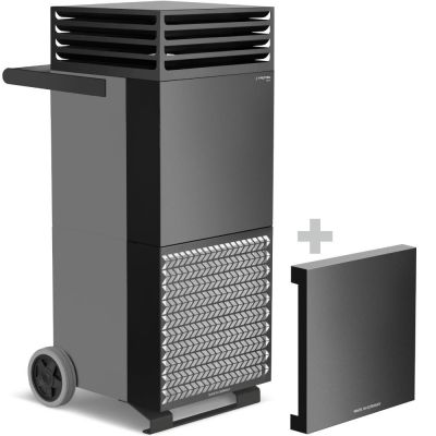 Depuratore d'aria ambiente TAC V+ in grigio basalto/nero + cappa di isolamento acustico