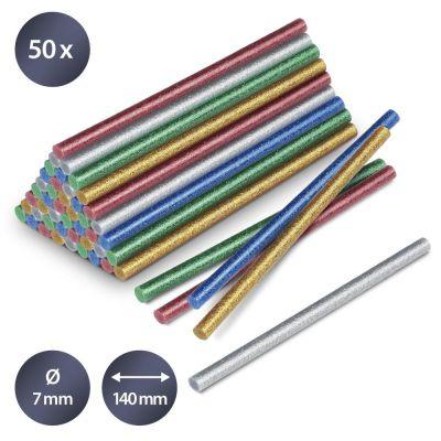 Confezione di stick di colla a caldo glitter, 50 pezzi (Ø 7 mm)