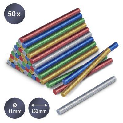 Confezione di stick di colla a caldo glitter, 50 pezzi (Ø 11 mm)