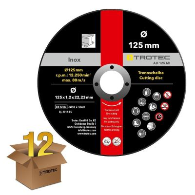 Pacchetto risparmio da 12 dischi separatori per metallo INOX AD 125 MI