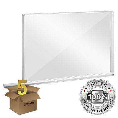 Vetro acrilico di protezione per pareti scolastiche con bordo di protezione aerosol in una confezione da 5 MEDIUM 1007 x 69 x 688