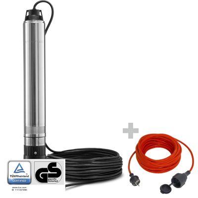 Pompa sommersa per pozzi TDP 750 E + Cavo di prolunga di alta qualità 15 m / 230 V / 1,5 mm²