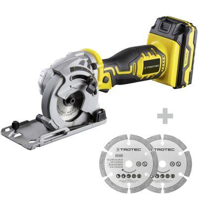 Mini sega circolare a batteria PCSS 05-20V + Set di lame per sega circolare 3 TCT Ø 89 mm, 2 pezzi