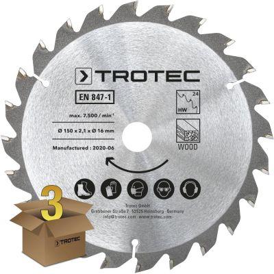 Set di lame per seghe circolari per legno Ø 150 mm (24 denti), 3 pezzi