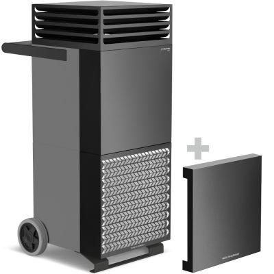 Depuratore d'aria ambiente TAC V+ in grigio basalto/nero + coperchio insonorizzante