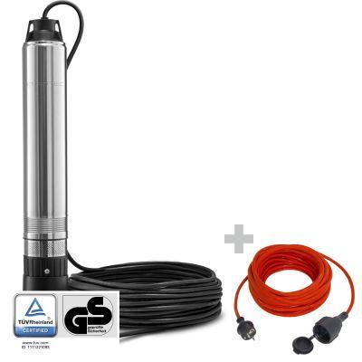 Pompa sommersa per pozzi TDP 370 E + Cavo di prolunga di alta qualità 15 m / 230 V / 1,5 mm²
