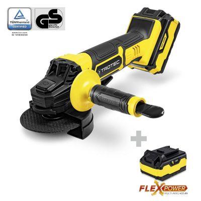 Smerigliatrice angolare a batteria PAGS 20-115 con batteria di ricambio Flexpower 20V 4,0 Ah