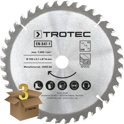 Set di lame per seghe circolari per legno Ø 150 mm (40 denti), 3 pezzi
