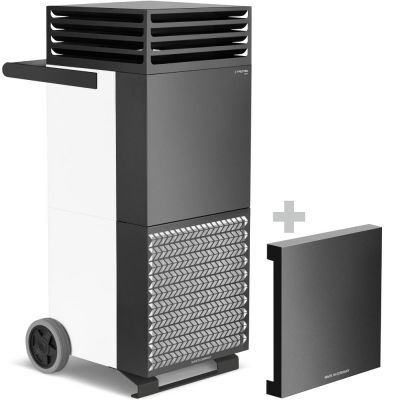 Depuratore d'aria ambiente TAC V+ in bianco/nero + cappa di isolamento acustico