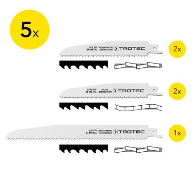Set di 5 lame per sega a gattuccio per taglio di legno/metallo
