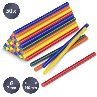 Confezione di stick di colla a caldo colorati, 50 pezzi (Ø 7 mm)
